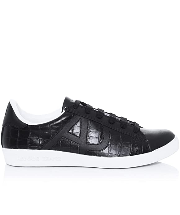 74592e210f7 Armani Jeans Croc Cup Sole Trainers Black 10 UK  Amazon.co.uk  Shoes   Bags