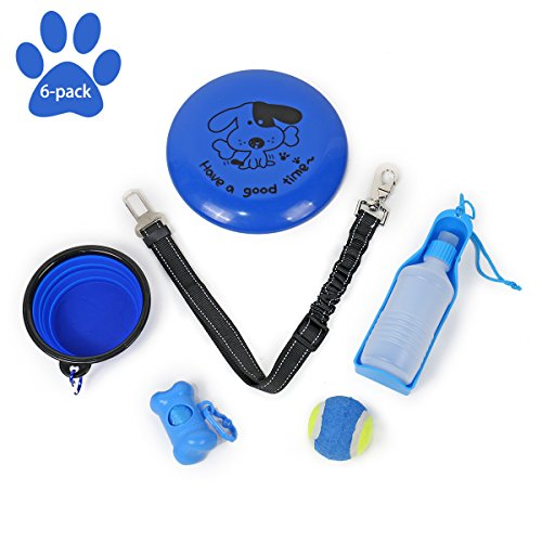 Flying Travel Disc - Speedy Pet 6 Pack Pet Outdoor Travel Gift Set Kit,Dog Flying Disc Toys,Collapsible Pet Bowl,Pet Water Bottle,Bone Waste Bag Dispenser,Dog Tennis Ball,Car Seat Belt