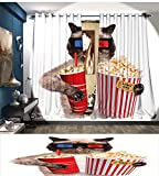 RuppertTextile Movie Theater Decor Patterned Drape For Glass Door Cat with Popcorn and Drink Watching Movie Glasses Entertainment Cinema Waterproof Window Curtain Multicolor