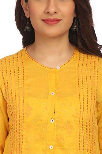 BIBA Women's Yellow Front Open Cotton Kurta Size 34 by Biba (Image #6)