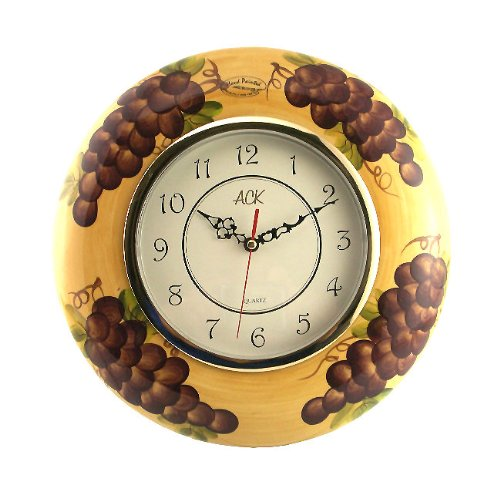 Tuscany Kitchen Decor Grape Wall Clock