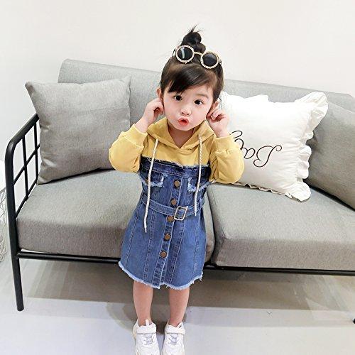 Denim Las Visten Niñas Costuras Baby Jersey RONG XIU Niños yellow Falda TAFx61q