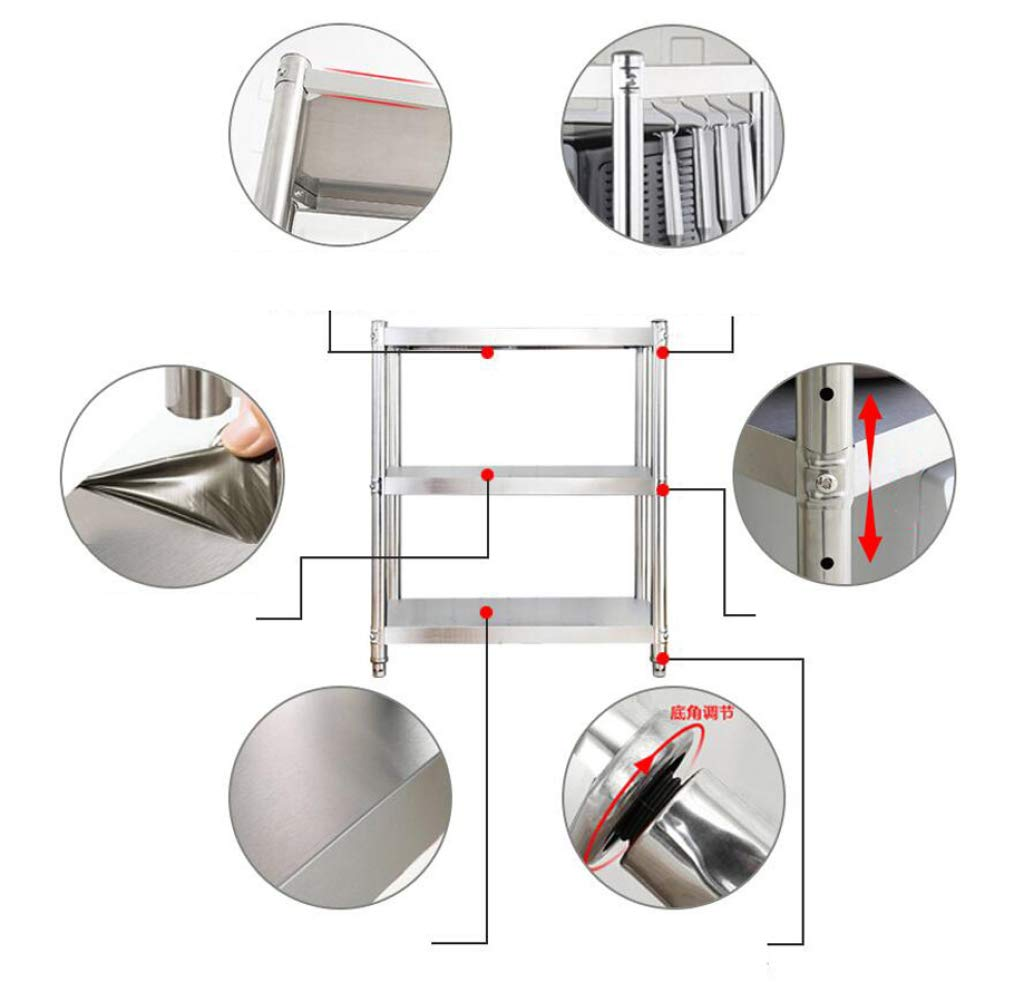 HUYYA Kitchen Storage Shelf Unit Rack Utility, Adjustable Pantry/Bakers Microwave Rack Multi-Functional Spice Rack,Silver_24x18x36inch by HUYYA (Image #2)