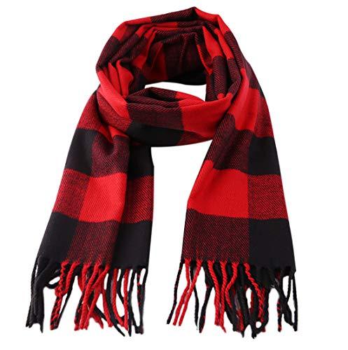 Kids Cashmere Winter Scarf Plaid Shawl Wrap Warm Scarves for Boys Girls