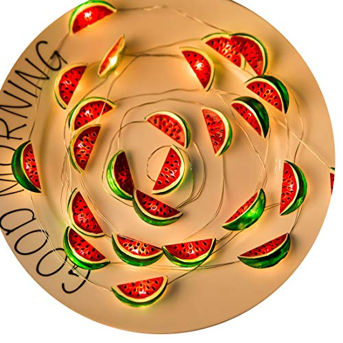 KAKANA LED String Lights Fruit Theme Watermelon String Lights Battery 10ft 30 Lamps Indoor Strand Lights for Dorm, Deck, Patio, Backyard, House, Wedding, Party, Children Room Decoration(Warm White)