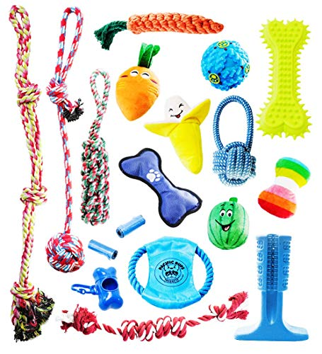 Pacific Pups Products supporting PacificPupRescue.com – 18 Piece Dog Toy Set with Dog Chew Toys, Rope Toys for Dogs…