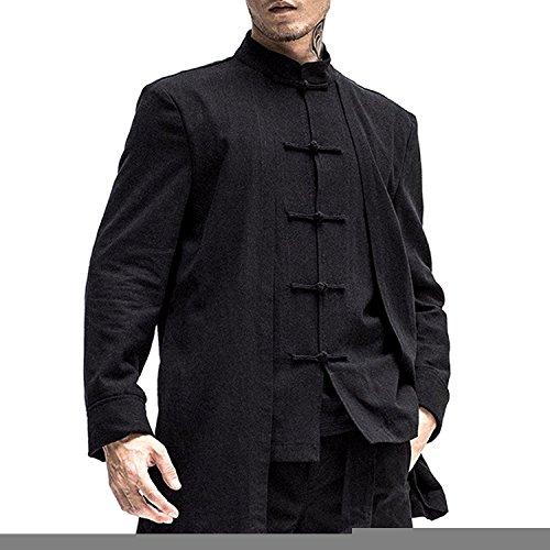 Kung Fu Smith Mens Black Linen Traditional Chinese Kung Fu Shirt, Mandarin Collar (Traditional Chinese Men Clothing)