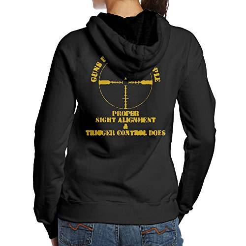 Women's GUNS DONT KILL PEOPLE PROPER AIM DOES Camper Casual Style Hoodie Sweatshirt Size M - The Kill T Puppy Don