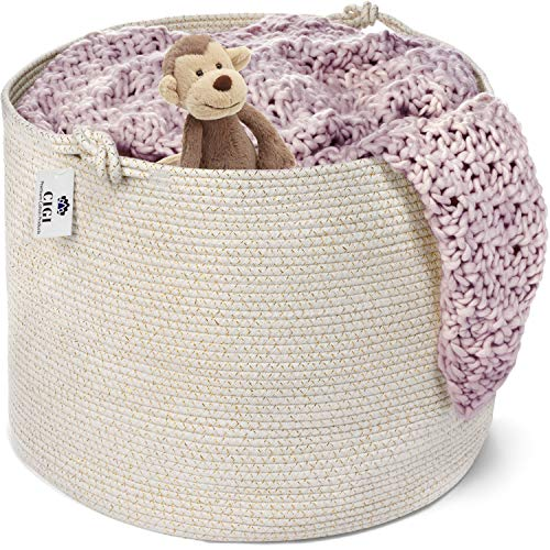 """Extra Large Cotton Rope Basket – Neutral White and Gold Hamper 20""""x15"""" – Woven Laundry Storage Basket with Decorative Handles - Perfect Organizer for Blankets, Nursery, Bedroom, Linen, Pillows, Toys"""