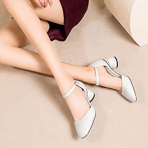 Ankle Heel Summer Low White Strap For Mid Dress Leather Evening Block Party Women's Sandals Shoes nxZRqwB1Z
