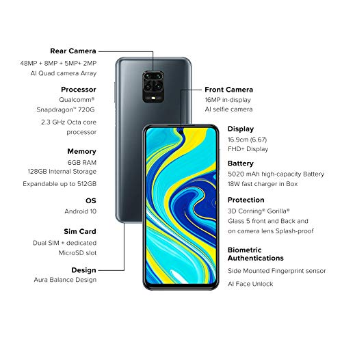 Redmi Note 9 Pro (Aurora Blue, 6GB RAM, 128GB Storage) – Latest 8nm Snapdragon 720G & Alexa Hands-Free