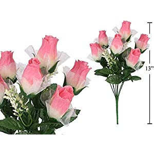 MARJON Flowers 7stem Roses with Lace & Baby Breath, Artificial Flower (Pink) 110