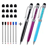 Crystal Stylus Pens - CHAOQ 3 Pcs - Black - Red - Blue - Stylus Pen and Ballpoint Pens (Black Red Blue Ink - 1.0mm) for Touch Screens iPad - iPhone - Tablet - Kindle - with 12 Extra Rubber Tip - 6 Refills