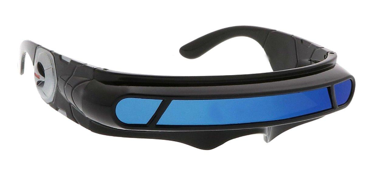WebDeals - Futuristic Cyclops Wrap Around Monoblock Shield Sunglasses (Black, Blue Revo)