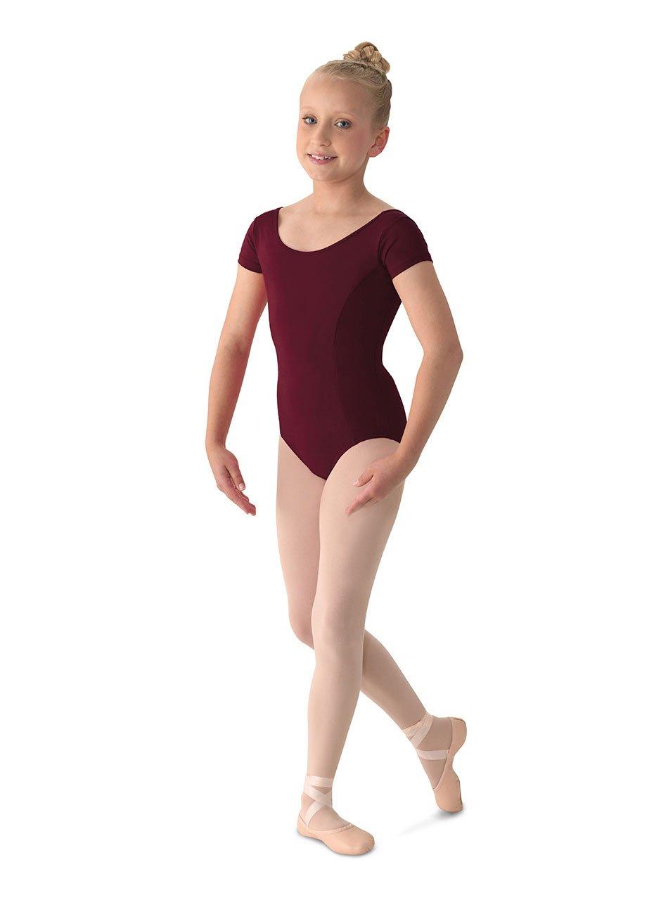 Mirella Girl's Princess Seam Cap Sleeve Dance Leotard Burgundy 6X-7 by Mirella