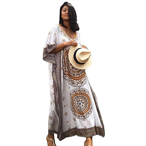 African Caftan - SMUDGE Life Women's White Ethnic Print Kaftan Maxi Dress Summer Beach Dress