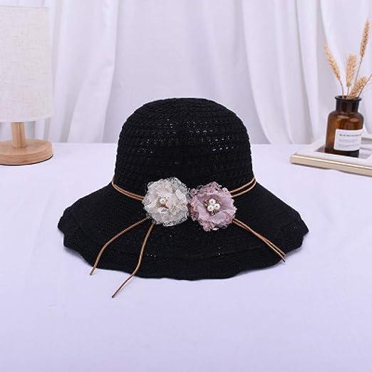 Moda Casual Wild Sun Hat, Flor Perla de Algodón de Lino Sombreros ...