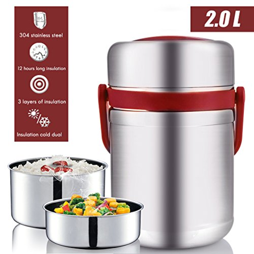 Vacuum Bento Lunch Box Food Carrier 304 Stainless Steel Insulated Thermos Food Container Storage Carrier, Leakproof BPA-Free 3 Tier Thermal Insulating Lunch Box, Keep Warm 6 hours (Red1)
