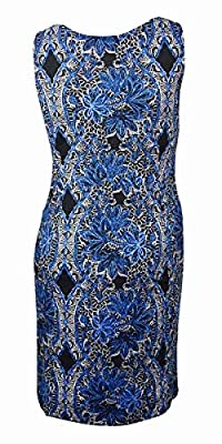 Jm Collection Plus Size New Blue Printed Shift Dress 2X $69.5 DBFL