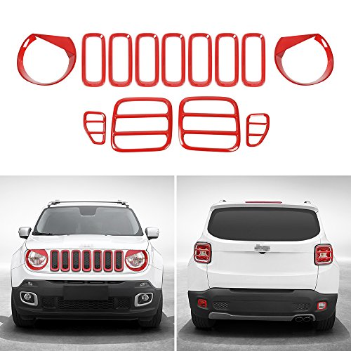JeCar Tail light Covers & Front Grille Grill Inserts & Headlight Covers & Rear Fog Light Trim for Jeep Renegade 2015 2016 2017(Red,13pcs)