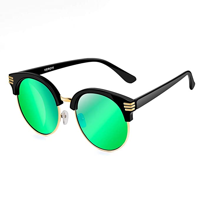e734f9795887 Image Unavailable. Image not available for. Color  Veroyi 1821 Round Half-frame  Retro Polarized Sunglasses for Men and Women ...