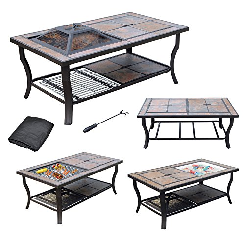 (AXXONN 4 in 1 Rectangular Tile Top Fire Pit, Cooler, Grill and Coffee Table with)