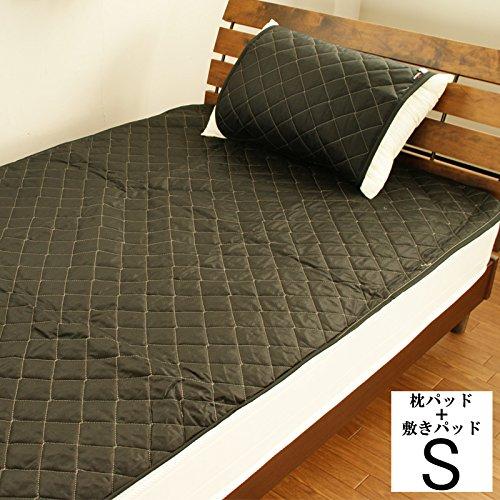 【19色展開】日本製 アウトラストひんやり敷パッド&枕パッド シングル ブラック B0085SG81E ブラック ブラック