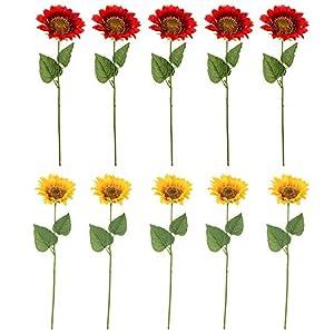 "Evoio 5pcs Artificial Flowers Single Head 4.3"" Artificial Handmade Silk Sunflowers for Home Decoration Wedding Garden Art Decor 21"