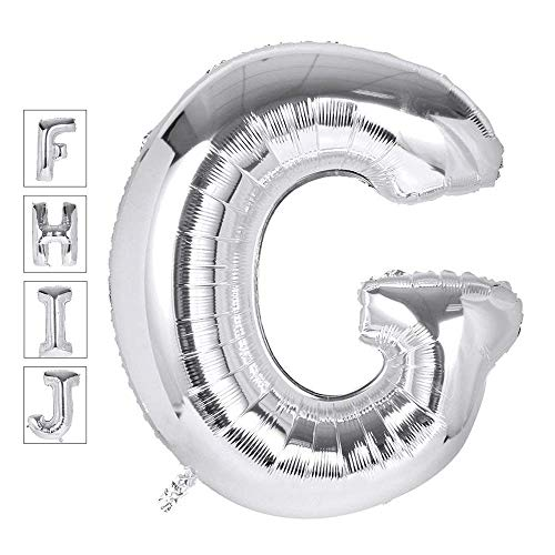 Lovne 40 Inch Jumbo Silver Alphabet G Balloon Giant Prom Balloons Helium Foil Mylar Huge Letter Balloons A to Z for Birthday Party Decorations Wedding Anniversary