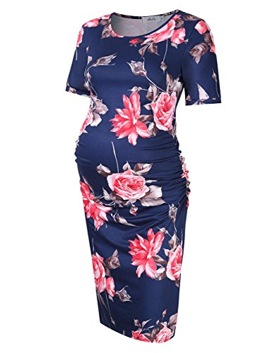 Dress Ruched Sleeve Maternity (Coolmee MissQee Maternity Dress Ruched Round Neck Maternity Dresses (M, Navy Print))