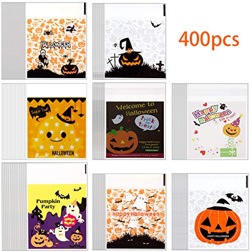 Diy Halloween Party Snacks (400PCS Halloween Candy Bags Self Adhesive Cookie Bags 8 Different Style Clear Cellophane Bags for Biscuit Chocolate Snacks Homemade Crafts,Party)