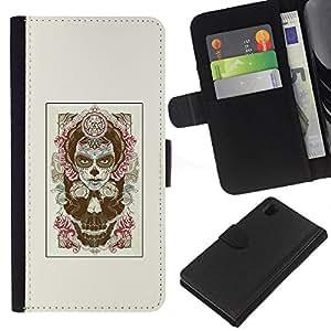 EJOY---La carpeta del tirón la caja de cuero de alta calidad de la PU Caso protector / Sony Xperia Z1 L39 / --Rose de la bruja de Halloween
