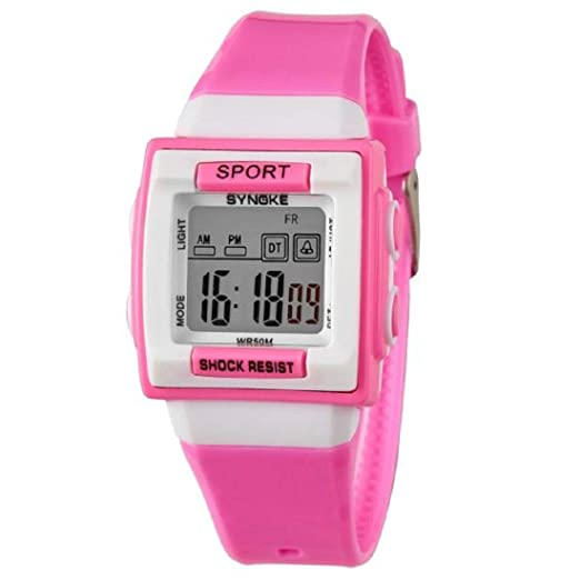 Cebbay Liquidación Imported Reloj para niños Boy Girl Motion Reloj digital Leisure Fashion Noble (Rosa