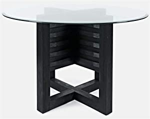 Jofran Altamonte Round Glass Top Dining Table, Dark Charcoal