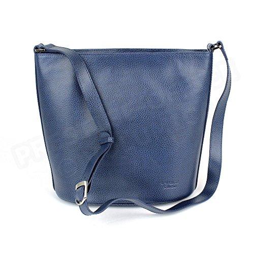 Bolsa de hombro Biarritz piel Luxe Fabricación francesa Azul