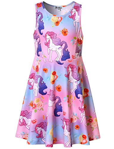 Flower Unicorn Dresses for Big Girls 12 13 Sleeveless Swing Casual Dresses]()