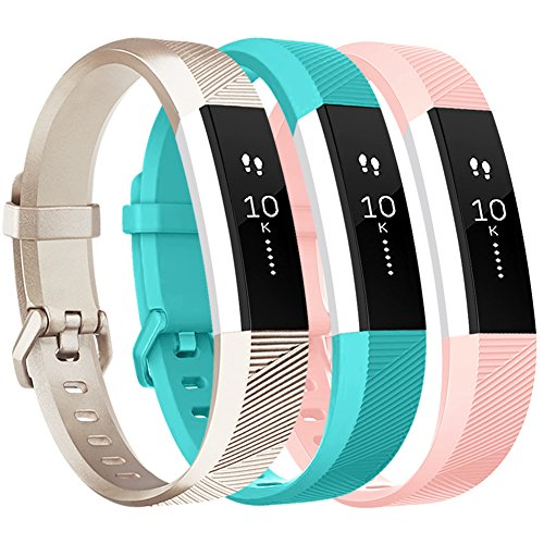Vancle for Fitbit Alta HR/Ace Bands and Alta Bands, Adjustable Replacement Accessories Wristbands for Fitbit Ace/Alta and Alta HR, Gold Teal Pink, Large