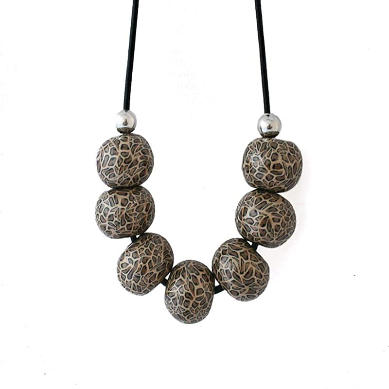 UK Ladies Contemporary Silver Circular Design Statement Necklace Earring Set