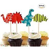 Set of 48 Dinosaur Cupcake Toppers Cute Cupcake Topper Decors Muffin Toppers Food Toppers Fruit Toppers for Kids Birthday Party,Dinosaur Themed Party,Picnic Wedding , Baby Shower
