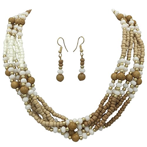 - Gypsy Jewels Layered Seed Bead Multi Strand Statement Necklace & Dangle Earrings Set (Brown & White)