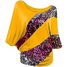 Destjoy Clothing Womens Plus Size Cotton 3 4 Batwing Sleeve Sequin Patchwork Shirt Pleat Blouse Tee Top