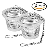 Siasky 2pcs Premium Tea Ball Filters, Perfect Stainless Steel Loose Leaf Tea Interval Diffuser, 1.8 Inch Tea Infuser Strainers with Extended Chain