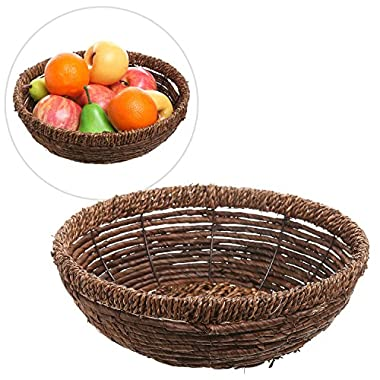 Hand Woven Brown Seagrass Shallow Round Decorative Fruit Display Storage Basket / Centerpiece Holder