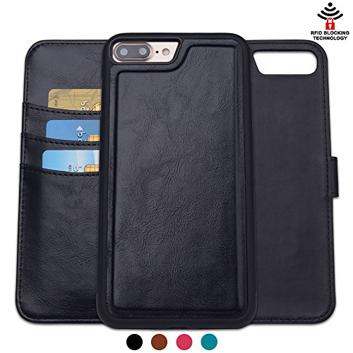SHANSHUI Wallet Case Compatible with iPhone 7 Plus / 8 Plus, Detachable 2 in 1 Card Holder PU Leather RFID Protection Magnetic Flip Slim Back Cover 5.5 inch (Black)