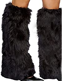 3Color Sexy Faux Fur Leg Warmers Rave Fluffies Lady Boot Cover Santa Christmas