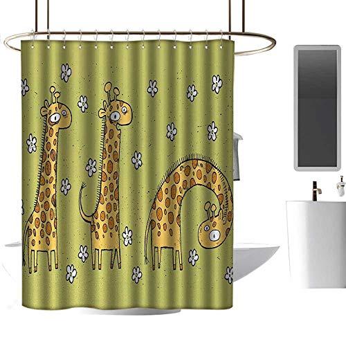 Shower Flower Blue Giraffe (homehot Blue Shower Curtains for Bathroom Animal,Hand Drawn Illustration of Giraffes on Background with Flowers,Avocado Green and Light Caramel,W36 x L72,Shower Curtain for Bathroom)