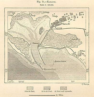 Amazon com: Karachi City Plan  Pakistan  Sketch map - 1885