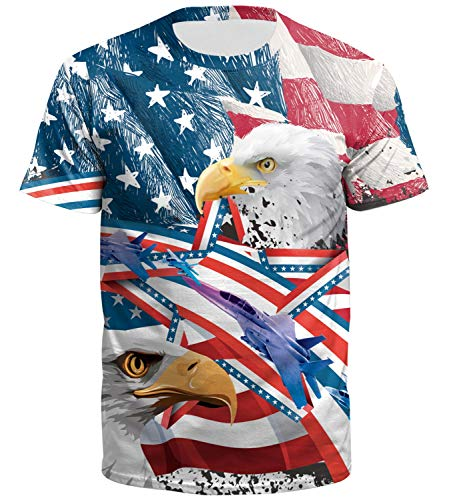 American Flag Men Pattern Funny July 4th Tops Patriotic Printed Casual Summer Short Sleeve T Shirt Eagel M -