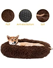SlowTon Pet Calming Bed, Donut Cuddler Nest Warm Soft Plush Dog Cat Cushion with Cozy Sponge Non-Slip Bottom for Small Medium Pets Snooze Sleeping Autumn Indoor, Machine Washable 15.7in/19.7in/23.6in