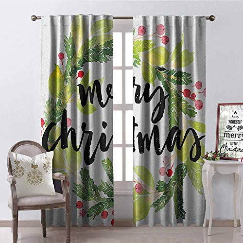 GloriaJohnson Christmas Wear-Resistant Color Curtain Watercolor Painting Style Christmas Wreath and Hand Lettering Mistletoe Waterproof Fabric W52 x L84 Inch Black Green White (Kohls Christmas Wreath)